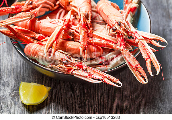 Closeup of cooked scampi with lemon - csp18513283