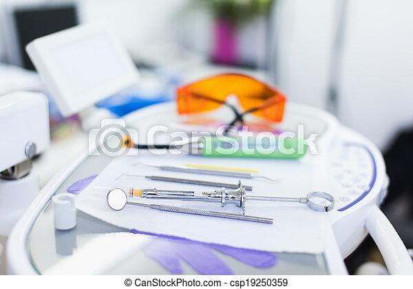 Closeup of dental tools - csp19250359