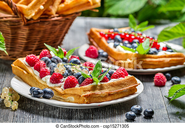 Closeup of fresh berry fruit on waffles - csp15271305