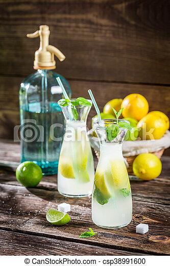 Closeup of fresh lemonade with fruit - csp38991600