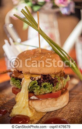 Closeup of home made burger - csp41476679