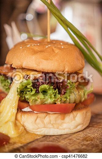 Closeup of home made burger - csp41476682