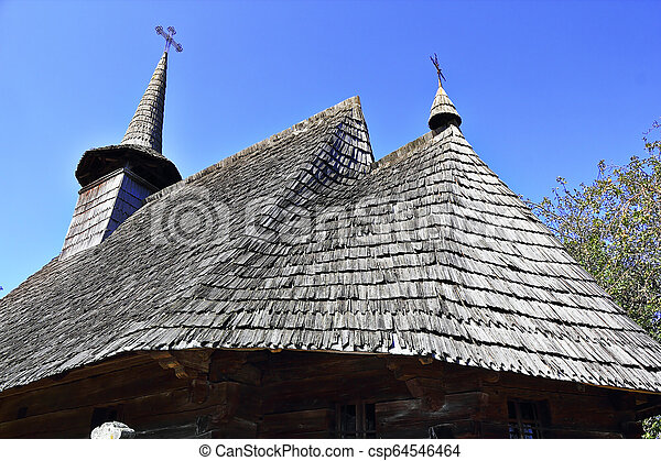 closeup of old wooden church roof - csp64546464