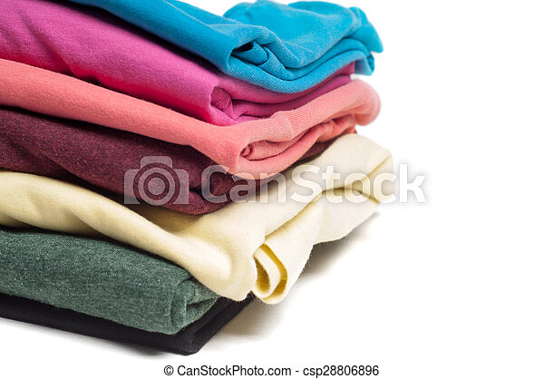 Closeup of pile of folded T shirts - csp28806896