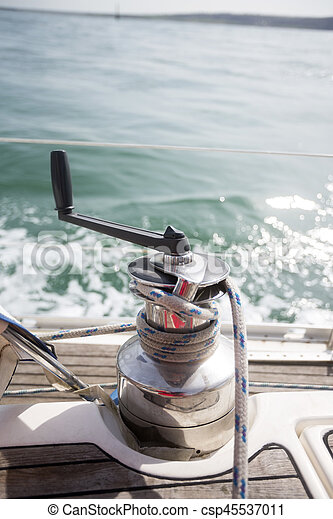 Closeup Of Rope On Sailboat Winch - csp45537011