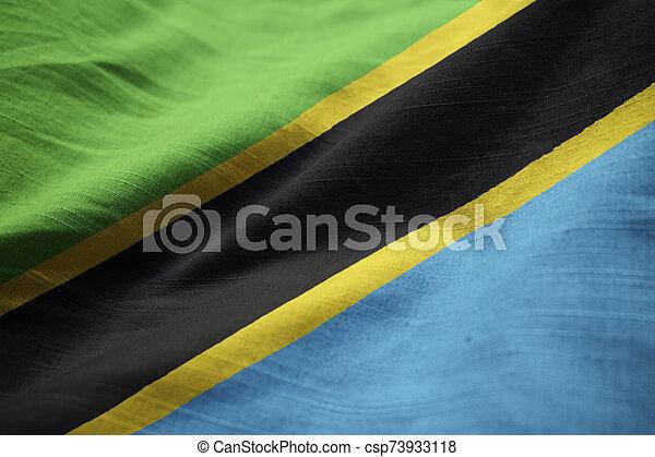 Closeup of Ruffled Tanzania Flag, Tanzania Flag Blowing in Wind - csp73933118