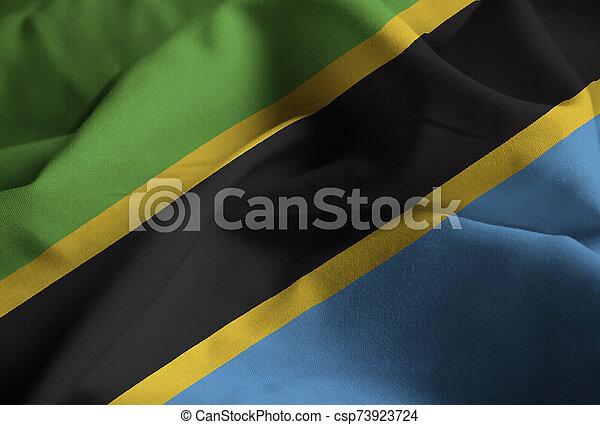Closeup of Ruffled Tanzania Flag, Tanzania Flag Blowing in Wind - csp73923724