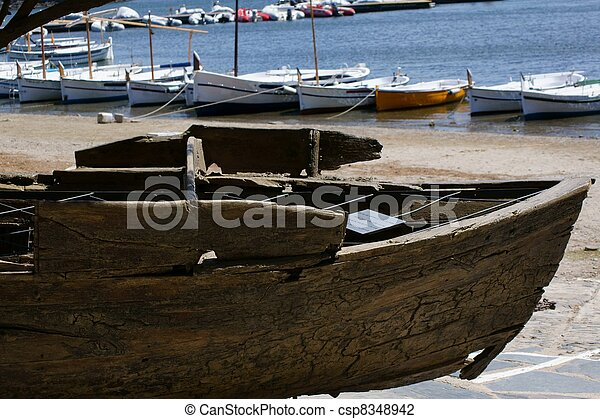 closeup of rustic old boat, italy - csp8348942