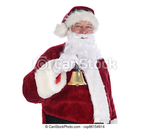 Closeup of Santa Claus holding a gold bell ringing in the holidays. - csp86154914