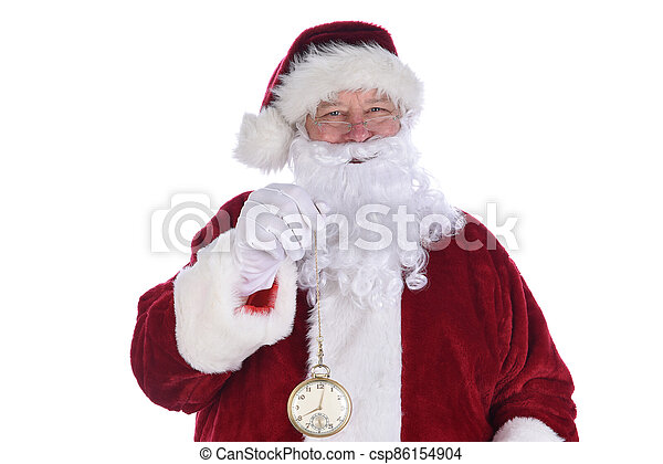 Closeup of Santa Claus holding a large gold pocket watch, isolated on white. - csp86154904