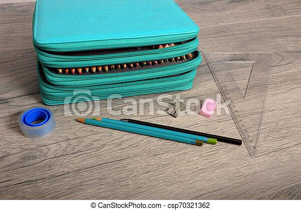 Closeup of School Gear and Pencil Case - csp70321362
