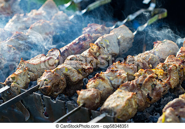 closeup of some meat skewers being grilled in a barbecue - csp58348351