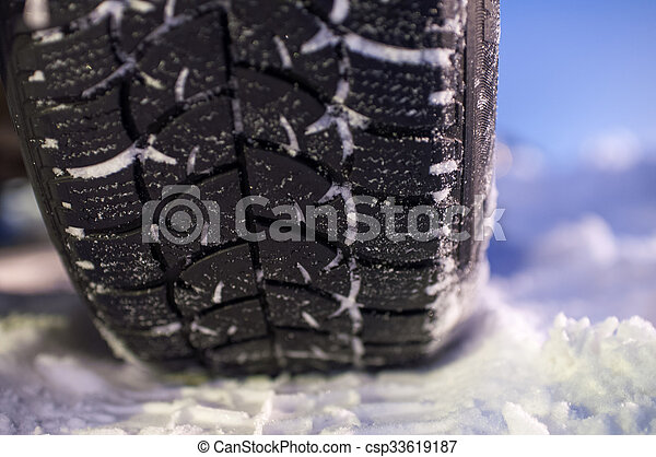 Closeup of winter tyre on the road - csp33619187