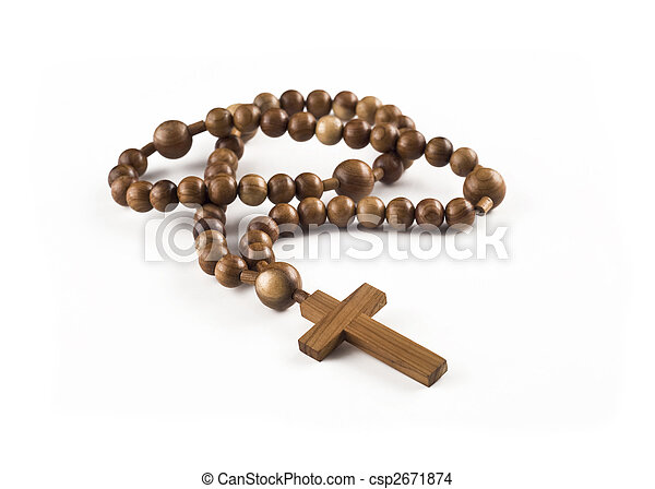 Closeup of Wooden beads isolated  - csp2671874
