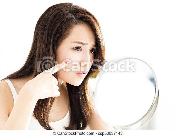 Asian girl looking in mirror print