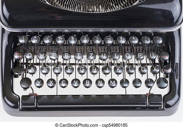 Closeup old black typewriter keyboard