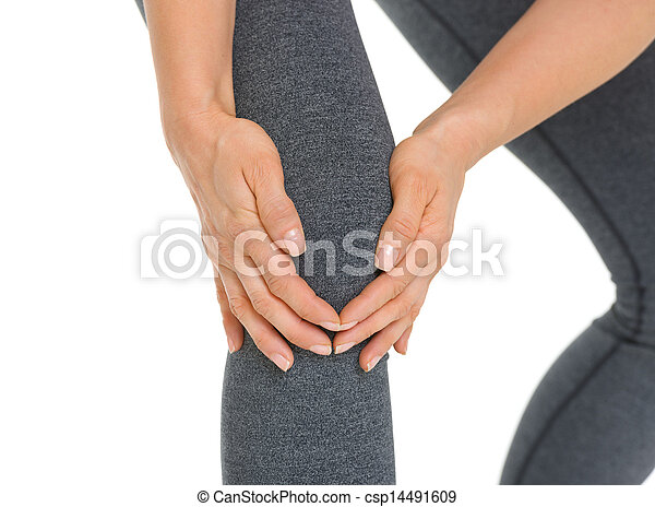 Closeup on woman with knee pain - csp14491609