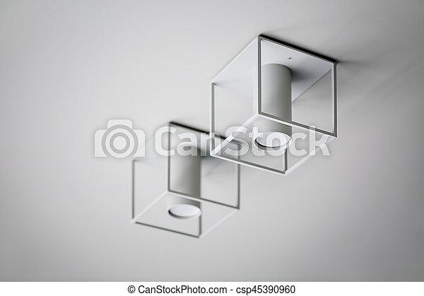 Closeup photo of hanging lamps - csp45390960
