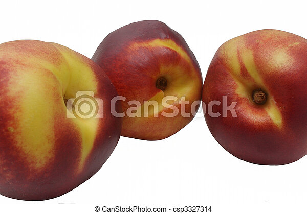 Closeup photo of three nectarine on white background - csp3327314