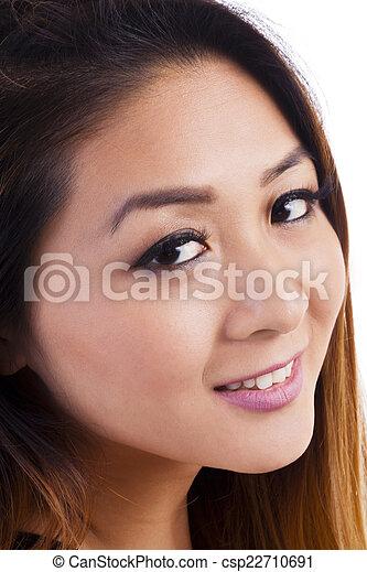 Closeup Portrait Attractive Asian American Woman Smiling - csp22710691