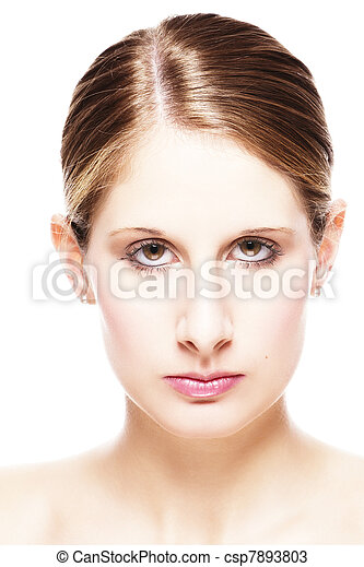 closeup portrait of a beautiful woman on white background - csp7893803