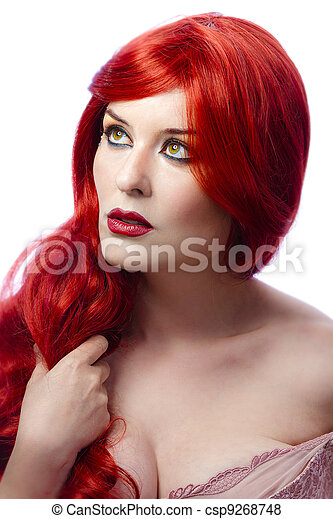 Closeup portrait of a beautiful young woman with elegant long red shiny hair , hairstyle , isolated on white background , healthy straight hair - csp9268748