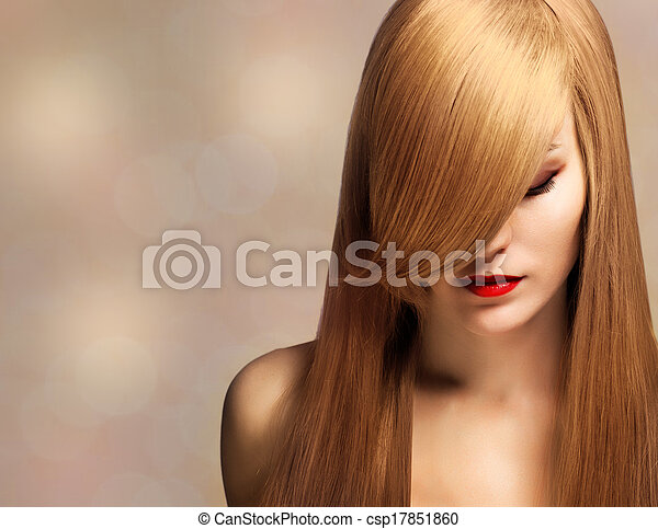 closeup portrait of a beautiful young woman with elegant long shiny hair - csp17851860