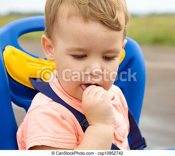 Closeup portrait of a cute little boy - csp10952742
