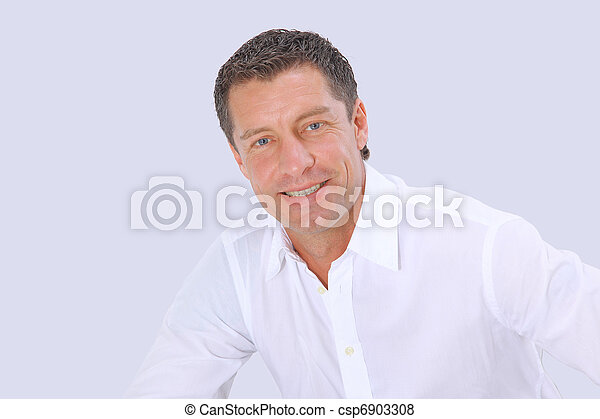 Closeup portrait of a  senior man smiling on white background  - csp6903308