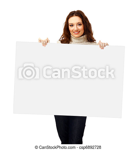 Closeup portrait of a young business woman with billboard isolated on white background - csp6892728