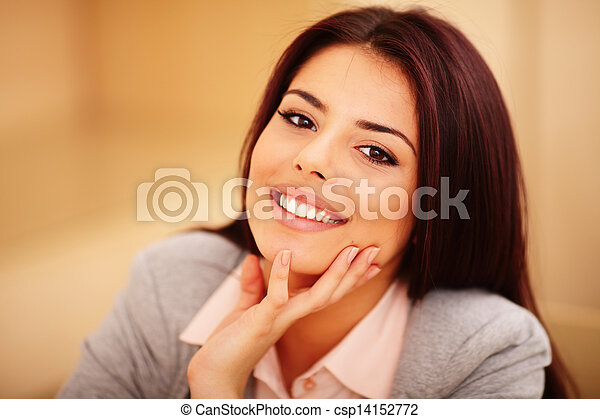 Closeup portrait of a Young confident smiling woman - csp14152772