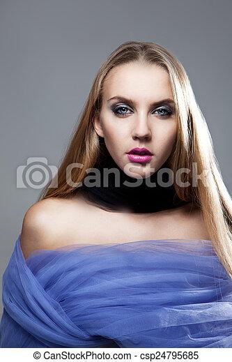 Closeup portrait of beautiful woman - csp24795685