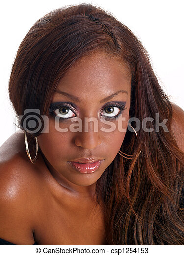 Closeup portrait of mixed black woman shoulder - csp1254153