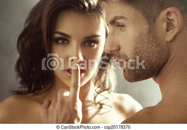 Closeup portrait of the lovers in the bedroom - csp20178370