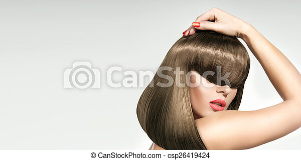 Closeup portrait of the the woman with trendy coiffure - csp26419424
