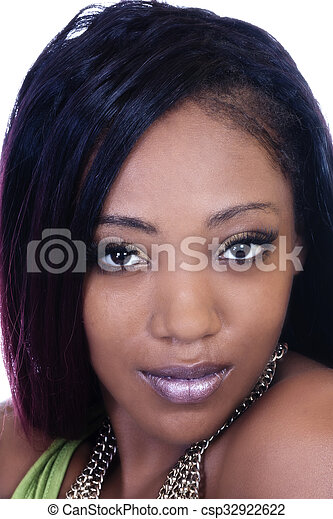 Closeup Portrait Young Attractive African American Woman - csp32922622