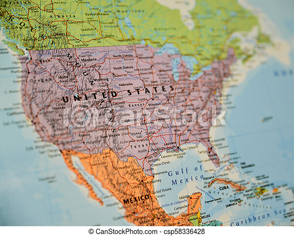 Caribbean Topographic Map.Closeup Shot Of North America Map Closeup Shot Of North America