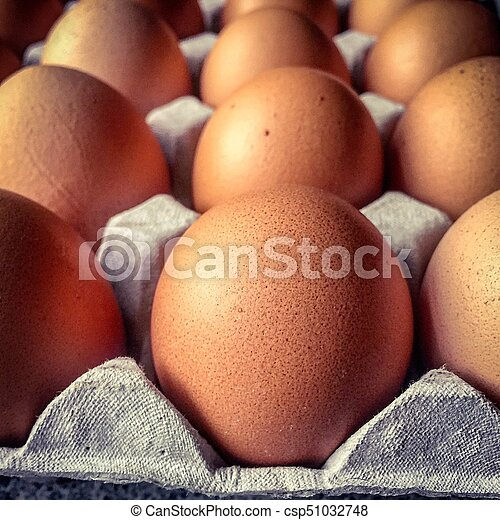 Closeup view on a tray of eggs - csp51032748