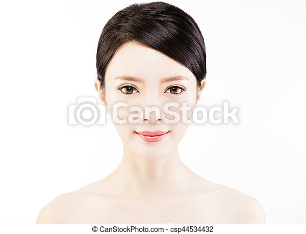 closeup   young  woman face isolated on white - csp44534432