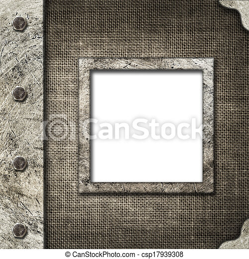 Cloth album cover with an iron rootlet and frame for photo - csp17939308
