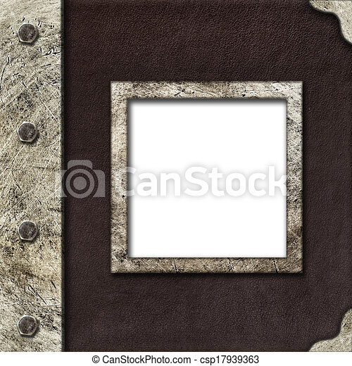 Cloth album cover with an iron rootlet and frame for photo - csp17939363