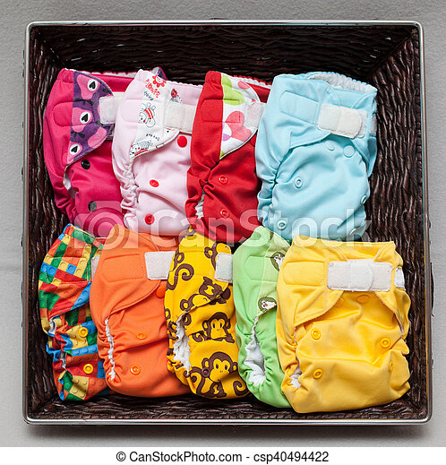 Cloth diapers in the basket - csp40494422