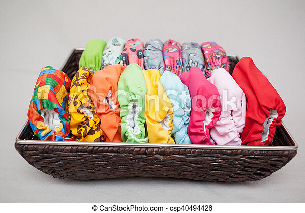 Cloth diapers in the basket - csp40494428
