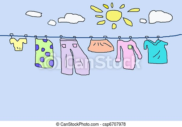 Laundry drying on a clothesline clipart. Free download transparent .PNG |  Creazilla