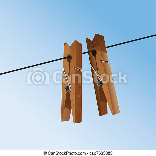 cloth pegs with a under the sky - csp7635383