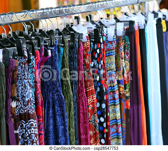 62be76b1d78 clothes and dresses for women in vintage style for sale at flea market -  csp28547753