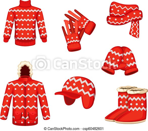 Clothes At Christmas Holiday Style Vector Illustrations For Winter Season