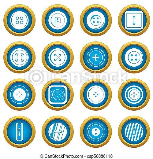 Clothes button icons blue circle set - csp56888118