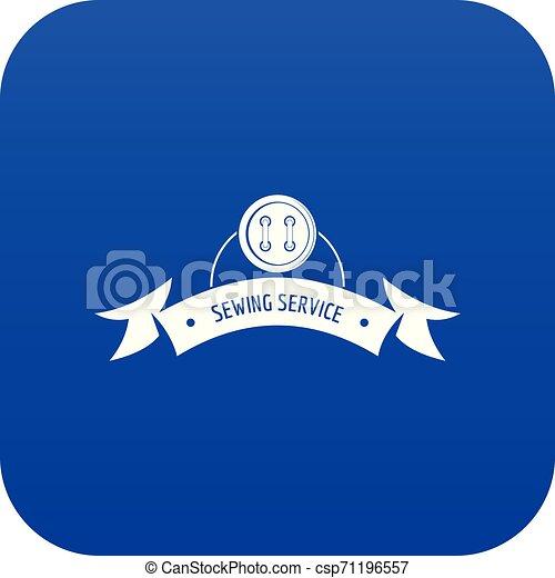 Clothes button round icon blue vector - csp71196557
