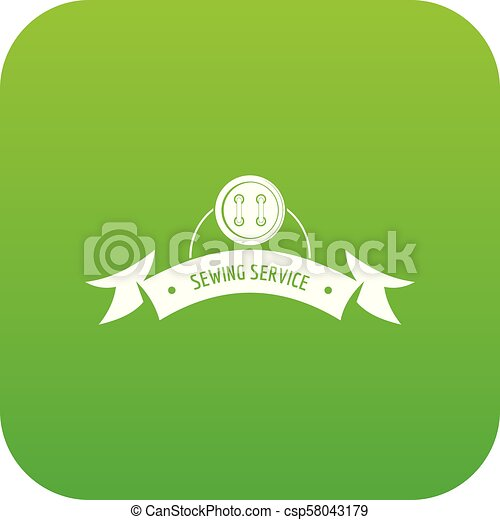 Clothes button round icon green vector - csp58043179